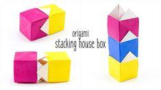 Origami Stacking House Box Tutorial - Paper Kawaii #origami #paperkawaii