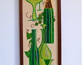 Mid Century Mosaic Cocktail Gravel Art Wall Hanging