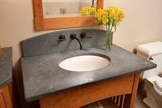 Cost Of Soapstone Countertops With Undermount Sink And Wall Mount Faucets Also Slate Countertops With Wall Mirror And Interior Paint Color Plus Modern Toilet With Slate Countertop