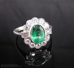 Emerald & Diamond Ring €2,900 from Adverts.ie #Diamonds #Emerald #Ring