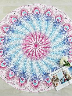 To find out about the Ombre Feather Print Round Beach Blanket at SHEIN, part of our latest Beach Accessories ready to shop online today! Romwe, Mandala Print, Beach Accessories, Fashion Accessories, Fashion Jewelry, Beach Blanket, Beach Rug, Feather Print, Beachwear For Women