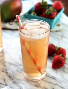 Beat the heat with this Strawberry Mango Iced Green Tea  Source: www.eat-drink-love.com