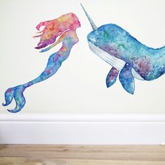 mermaid bedroom New mermaid now available and of course Mr narwhal too x Whale Nursery, Mermaid Nursery, Mermaid Room Decor, Ocean Bedroom, Unicorn Bedroom, Mermaid Wall Decals, Unicorns And Mermaids, Bedroom Themes, Bedrooms