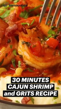 Shrimp Recipes, Fish Recipes, Indian Food Recipes, Lunch Snacks, Lunches And Dinners, Cajun Shrimp And Grits, Cajun Dishes, Grits Recipe, Creole Recipes