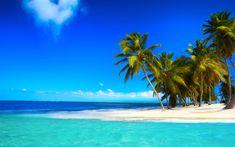 Lataa kuva ocean, trooppinen saari, blue lagoon, kesällä, kämmenet, ranta, sininen taivas, paratiisi, valkoinen hiekka