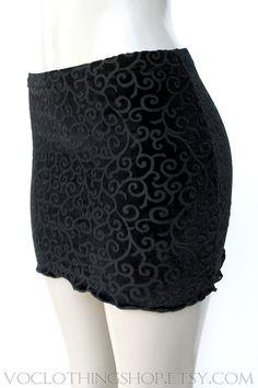 Last One BLACK MAGIC velvet burnout mini skirt by voclothingshop