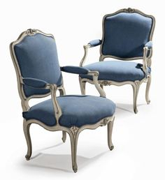 date unspecified A PAIR OF LOUIS XV CREAM AND BLUE-PAINTED FAUTEUILS   BY JEAN-BAPTISTE MEUNIER, MID-18TH CENTURY   Price realised   GBP 5,000