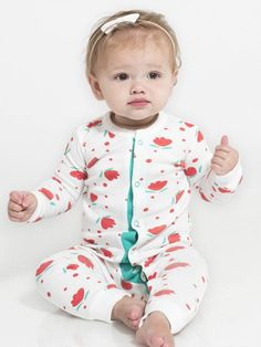 460c4ab63 Organic Baby Peyton Sleeper in White/Floral Dot Print - Colored Organics  Baby Sleepers,