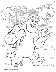 I Think That Sulley Wants To Be A Good Scarer Have Fun Coloring This Awesome Picture From Monsters University Movie Just Print It