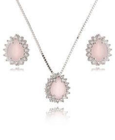 conjunto de semi joias quartzo rosa com zirconias cristais semi joias de luxo