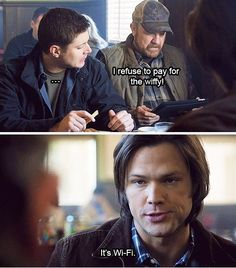 Generation gap. Supernatural. Jensen Ackles, Jim Beaver and Jared Padalecki