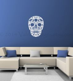 Surfs up sugar skull wall decal, surfing wall decal, beach wall deecal, day of the dead wall decal, Wall Sticker, Vinyl Decals, Wall Decals, Living Room Decor, Living Spaces, Surf Stickers, Surfs Up, Sugar Skull, Decorating Your Home