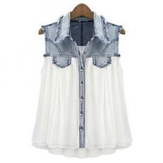 Dress up and add flair to an old Chambray shirt! - Dress up and add flair to an old Chambray shirt! Stiching Denim Lapel Sleeveless White Chiffon Shirt pictures Source by sylviakuehn - Clothes Refashion, Diy Clothing, Sewing Clothes, Chiffon Shirt, Sleeveless Blouse, Chiffon Blouses, Pleated Shirt, Chiffon Tops, Pimp Your Clothes
