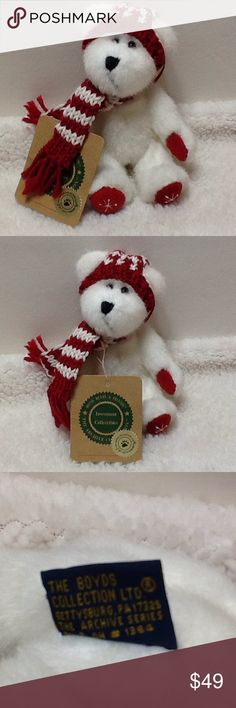 """Boyd's Bears 20th anniversary White Winter Bear Perfect for Collector!! Great Gift!! White Bendable Boyd's Bear 6"""" dressed with Sweater and hat Can use as ornament 20th anniversary Collection Boyds Bears Other"""