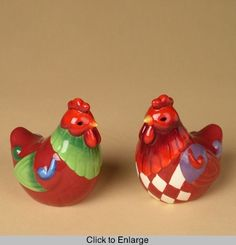 Jim Shore Rooster Salt and Pepper Shakers
