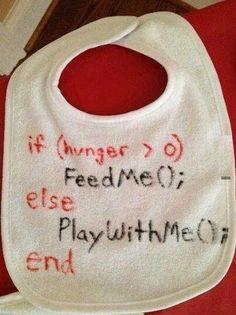 Programmers and kids :) code scripts about babies. Fun, joke