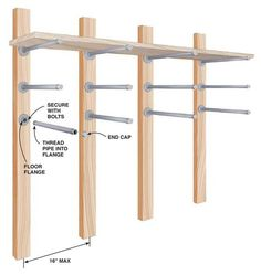 Storing Lumber This rack is easily made from galvanized iron pipe and threaded floor flanges. For light loads use 10-in. lengths of 1/2-in. pipe and 2x4s. For heavier loads go to 3/4-in. pipe and 4x4s. Be sure to anchor the flanges securely to the wall using bolts, washers, and nuts—not just wood screws. If you plan to store finished material on the racks, slip plastic tubing over the pipe to …