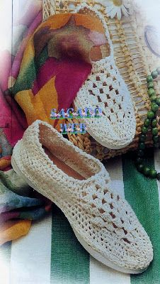 Crochet home slippers attached to rubber soles = comfy shoes. easy on older feet. Crochet Sandals, Crochet Boots, Crochet Shawl, Diy Crochet, Crochet Clothes, Crochet Stitches, Crochet Designs, Crochet Patterns, Knitted Slippers