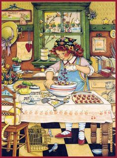 "This illustration by Mary Engelbreit is rather lovely, it really sums up "" HOME "". Mary has captured HOME so beautifully - a place. Mary Engelbreit, Art And Illustration, Decoupage Vintage, Vintage Art, Retro, Typographie Inspiration, Kitchen Art, Country Kitchen, Whimsical Art"