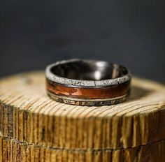 Mens Wedding Band Patina Copper Spalted Maple & by StagHeadDesigns