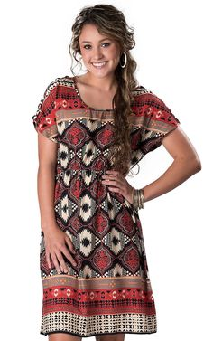 Angie® Women's Red, Black & Tan Printed Short Sleeve Dress--Would love it if it was a little longer. Dresses With Cowboy Boots, Cowgirl Dresses, Cowgirl Outfits, Country Western Dresses, Western Dresses For Women, Girl Style, My Style, Cowgirl Chic, Country Fashion