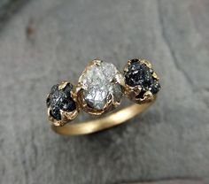 Rough Uncut Diamond Engagement Ring Raw 14k yellow Gold Wedding Ring Wedding Set Black and white diamonds Rough Diamond Ring byAngeline