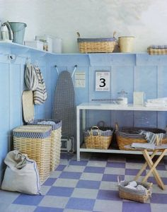 Design ideas for laundry room. Love the checkered floor. -via Interior Canvas