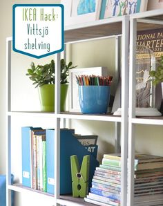 "Another version of the same IKEA bookcase hack - she painted them white Notes: 1/2"" plywood cut to size fits perfectly."