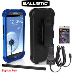 Samsung Galaxy S3, SIII Blue AGF BALLISTIC SG MAXX SERIES Heavy Duty Rugged Cover Case. Comes with Car Charger, Stylus Pen and Radiation Shield. Advanced four layers of protection: Layer 1 - Molded screen protector provides impact protection for your screen, Layer 2 - Ballistic shock absorbent polymer, Layer 3 - Tough impact resistant polycarbonate shell, Layer 4 - Soft silicone equipped with rein... #Newyorkcellphone #Wireless