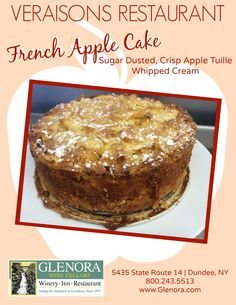 Glenora Wine Cellars is now offering a complimentary food and wine pairing experience in the Retail Shop, every Thursday from 11-4pm. An item from the current menu at Veraisons Restaurant will be available to taste and will be paired with one of our wines. This week (10/09) we present: French Apple Cake ~ featured on our Desser menu. #senecalake #fingerlakes #flxwine #glenorawine #veraisons