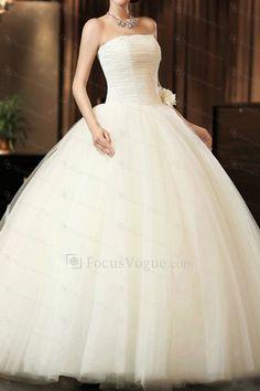 US $333.20   Net stroppeløs gulv lengde ball kjole brudekjole med håndlagde blomster