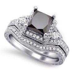 2.0Ct Black Princess Cut Diamond Engagement Ring Bridal Set 14K Black Gold 6