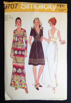 Vintage sewing Pattern Simplicity 9707 1970s dress 1971 Maxi Sleeveless V neck Midriff Bust 32.5 Small on Etsy, $15.00