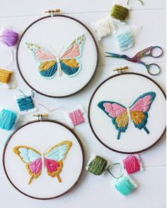 Wonderful Ribbon Embroidery Flowers by Hand Ideas. Enchanting Ribbon Embroidery Flowers by Hand Ideas. Butterfly Embroidery, Hand Embroidery Stitches, Modern Embroidery, Silk Ribbon Embroidery, Embroidery Hoop Art, Crewel Embroidery, Hand Embroidery Designs, Cross Stitch Embroidery, Embroidery Ideas