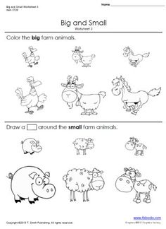 Snapshot image of printable Big and Small Worksheets 3 and 4, opposite worksheets from www.tlsbooks.com