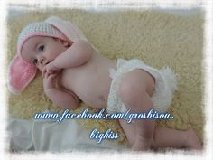 Pink and white easter bunny rabbit 0-3 months nappy diaper cover and hat.. ideal photo prop so cute by GrosBisou on Etsy