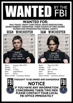 Hey, I found this really awesome Etsy listing at https://www.etsy.com/listing/190951820/supernatural-fbi-wanted-poster-a3-size