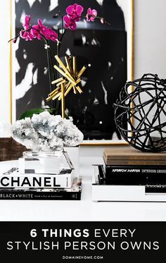 vignette - Houston Home of Kristen Nix - mineral specimen, chanel book, geometric circular accent, abstract art. Interior Design Inspiration, Home Decor Inspiration, Design Ideas, Interior Ideas, Tables Tableaux, Coffee Table Styling, Coffee Tables, Black And White Abstract, Black White