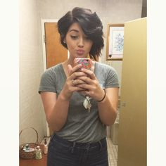 Short asymmetrical bob