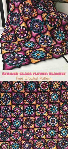 Stained Glass Flower Blanket Free Crochet Pattern #freecrochetpatterns #crochetblanket #crochetflowers
