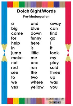 The Dolch words are commonly divided into groups by grade level, ranging from pre-kindergarten to third grade, with a separate list of nouns. There are a total of 315 Dolch Sight Words.  Here are Dolch Word List Chart you can display on your classroom walls for kids to easily read and remember. Dolch word list include the words the, with, to, up, all, there are many more. Dolch Sight Word List, Sight Words List, Sight Word Games, Basic Sight Words, English Stories For Kids, English Phonics, Classroom Walls, Kindergarten Teachers, Literacy Activities