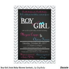 Boy Girl Joint Baby Shower Invitation & Book Card #babyshowercoed #babyshowerjoint #boyandgirl #invitations #zazzle
