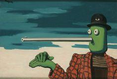 """René MagritteL'ellipse 1948 — Inv. 11695 ŒuvresPrécédentSuivant • Huile sur toile • Signature dans le haut à gauche : Magritte ; titre et date au revers sur la toile, vers le haut à droite : """"L'ELLIPSE"""" / 1948 ; étiquettes d'expo. et étiquette de transporteur au revers sur le châssis • Dimensions : 50,3 x 73 • Origine : Legs de Mme Scutenaire-Hamoir, Bruxelles, 1996"""