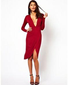 ASOS Deep Plunge Midi Dress
