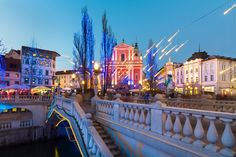 Picture of Romantic Ljubljana's city center decorated for Christmas time. stock photo, images and stock photography. Places Of Interest, Heaven On Earth, Slovenia, Places To See, Christmas Time, To Go, Christmas Decorations, Awesome House, Romantic
