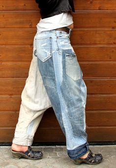 M-L yoga pants denim jeans linen recycled hippie от jamfashion
