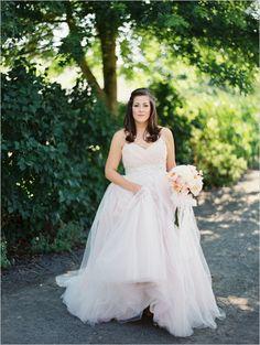 soft pink Haley Paige wedding gown #weddinggown #palepinkweddingdress #weddingchicks http://www.weddingchicks.com/2014/04/04/black-tie-oregon-wedding/