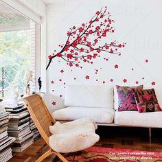 Lindo Adesivo de Parede Árvore Ipê! Ótima sugestão para decorar a sua sala, quarto ou um cantinho especial. Inclui várias flores extras. Frete Grátis!