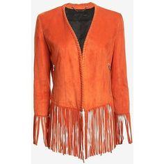 Barbara Bui Suede Fringe Jacket: Orange