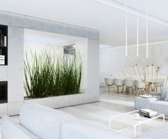The third home uses indoor greenery to great effect with a massive planting that doubles as a room divider.